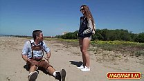 MAGMA FILM Picking up Cassidy Klein on the beach thumb