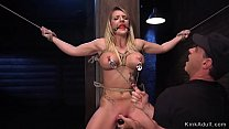 Deep throat busty babe in threesome bdsm training
