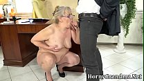 Bent over old woman gets eaten out