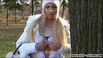 Long blonde hair Czech babe drilled in the woods for money
