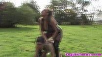 Busty dominatrix handling her puppyplay slave
