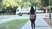 Public flashing and playing in stockings nude-public Image