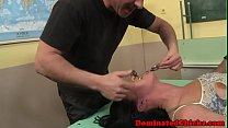 Submissive babe disciplined by three cocks preview image