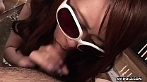 Brunette chick with glasses Ayumi Inamori gives...