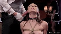 Hot slaves anal banged in threesome bondage