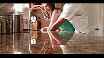 Young housekeeper kitchen table fuck video