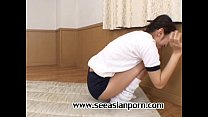 Asian Tiny Japanese Sport Teen Girl Fitting Pussy With Her Coach
