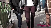 Street cameltoe, girls in leggings
