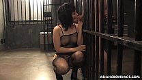 Slutty brunette in fishnet bodystocking, Kana Mimura is sucking cock