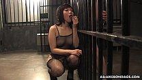 Slutty brunette in fishnet bodystocking, Kana Mimura is sucking cock thumbnail