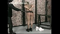 xvideoa.com ⁃ blonde girl getting pussylips stretched by evil bdsm master thumbnail