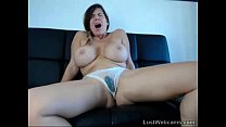 Busty brunette squirts on webcam preview image