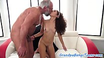 Teen babe rides oldmans cock before sucking