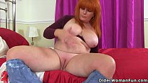 British and redhead milf Ginger Tiger dildos he...