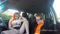 Redhead wanks and sucks driving instructor