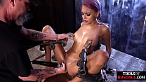 Bondage Sub Nipple Clamped And Toyed While Boun