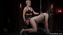 Male slave is made to rimming blonde
