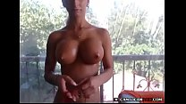 Sexy brunette skin babe tease huge busty tits