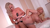 Kyra Hot and Rachele Richey Ride A Massive Double Dong thumbnail