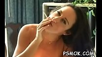 Marvelous babe sucks a dick like a pro while smoking a cig