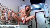 Krystal boyd pisses and fucks her pussy on the kitchen side - download porn videos