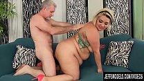 Old Man Pummels Seductive Fat Slut Sinful Celeste in Doggy Style