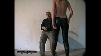 girl in leather pants kick a guy  01