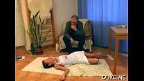 Steamy old and young act with fat dude banging hot babe