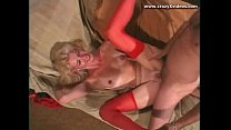 Blonde gilf with red stockings gets it onnnn