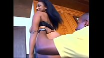 Black beauty with nice tits rides a hard black cock