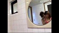 2 Girls In Lingerie Kissing Rubbing Breast In The Bathroom