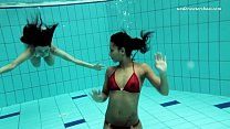 Two sexy lesbians in the pool Image