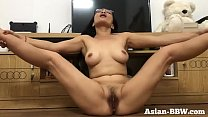 Asian MILF Rubs Hairy Pussy   More At Asian BBW