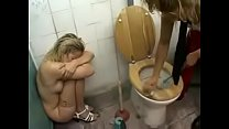 cute blond lady get rough treatment on a dirty toilet, spitting, piss and cum