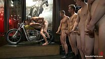 Hunky stripper gets fucked by a crowd of hot guys