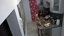 Czech cute teen - Naked cooking, voyeur spy cam at home thumbnail