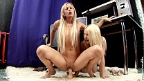 Hot blondes Larissa and Ingrid play with a huge...