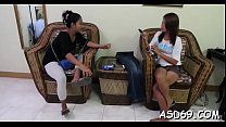 Young pretty oriental girl gives a wonderful ha...