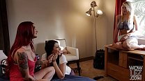 Katie Morgan sneaks into her lesbian friend's bed preview image