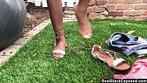 POV Ebony strips and fuck outdoors image