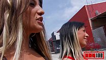2 hot spanish girls sucking and fucking in public place , great threesome
