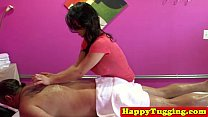 Big titted asian tugging masseuse image
