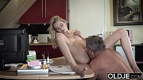 Young Old porn Martha gives grandpa a blowjob a...