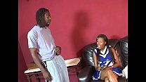 Black Cheerleader Ashley Foxxx Gets Pounded On Couch