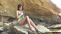 Mega hot skinny teen masturbating on the beach Thumbnail