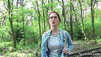 German Scout - College Redhead Teen Lia in Public Casting Vorschaubild