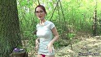 German Scout - College Redhead Teen Lia in Public Casting صورة
