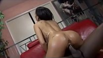 Black beauty Aliana Love rides man's thick dark cock while on the couch