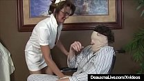 Busty Mature Nurse Deauxma Gives Patient Sloppy Hot Handjob! preview image