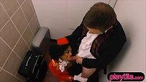 Sexy ebony stewardess gets fucked by a lucky white guy Image
